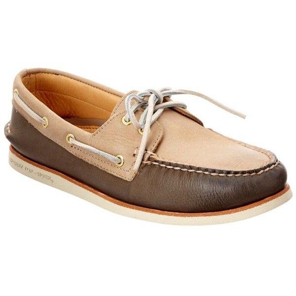 Sperry Sperry Men's Gold A/O Leather Boat Shoe (403256001) ($115) ❤ liked on Polyvore featuring men's fashion, men's shoes, men's loafers, beige, shoes, mens gold shoes, mens leather shoes, mens deck shoes, mens boat shoes and sperry mens shoes