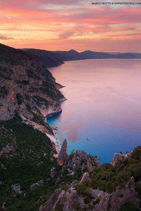 Sunset on the Baunei's Coast, Sardegna, Sardinia, Italy