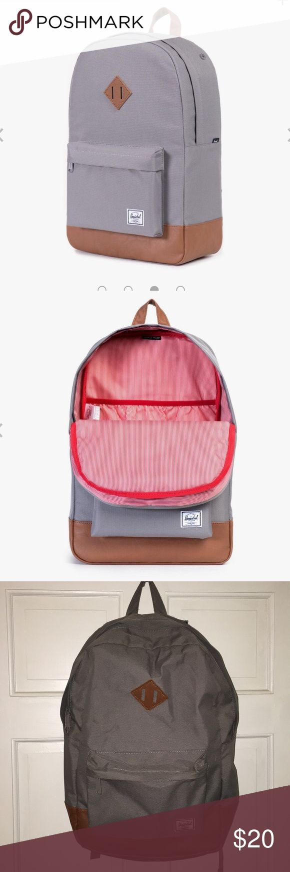 """Herschel Heritage Backpack Signature striped fabric liner 15"""" laptop sleeve Pebbled leather zipper pulls Single front pocket with key clip Internal media pocket with headphone port Classic woven label UNISEX Herschel Supply Company Bags Backpacks"""