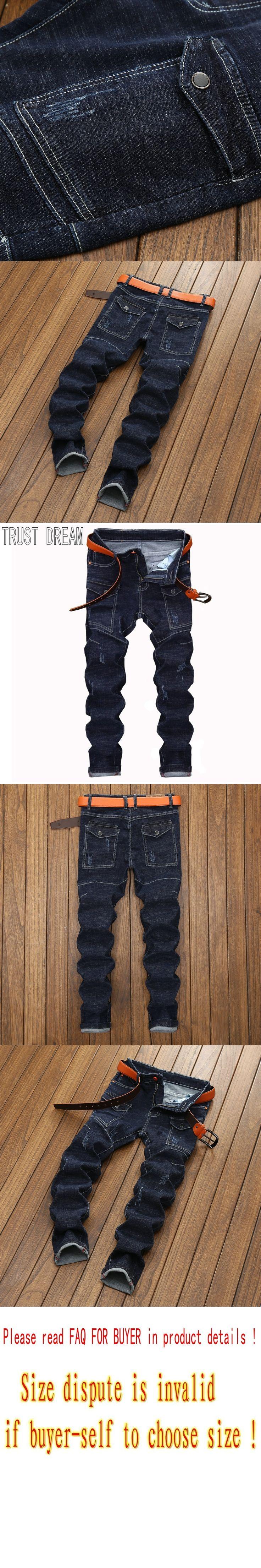 TRUST DREAM Europeans Designed Men More Pocekets Slim Dark Blue Jean Casual Man Fashion Street Personal Cargo Jeans