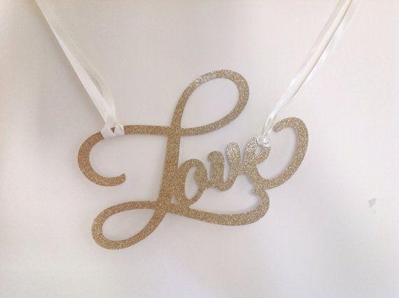LOVE SCRIPT Glitter Word/Banner for Weddings by CreativePapier, $20.00