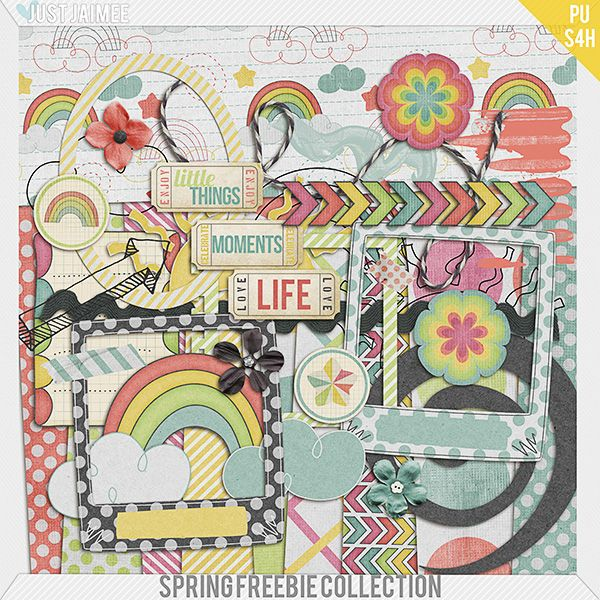 Spring Freebie Collection kit by Just Jaimee - more freebies in the link // primavera digital scrapbooking