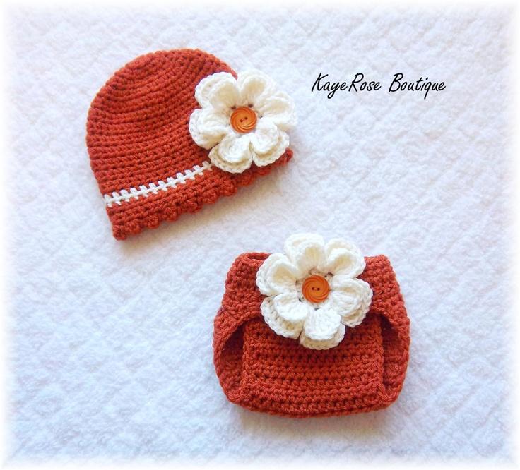 Baby Crochet Flower Hat & Diaper Cover Set Burnt Orange and Cream www.etsy.com