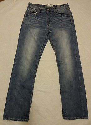 BKE Denim Men's Tyler Straight Buckle Jeans Thick Stitch Distressed Size 34L