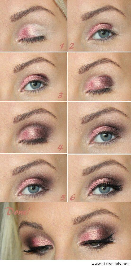 Shimmery Pink Eye Makeup