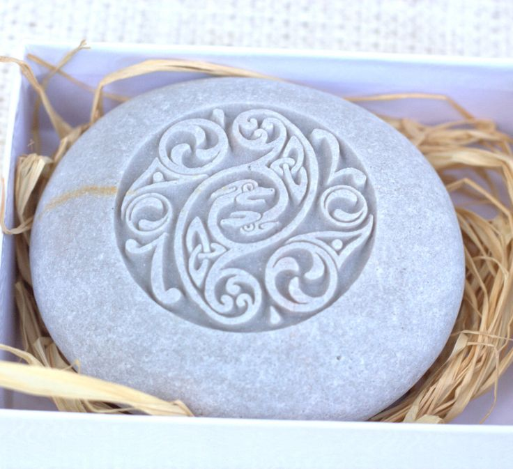 Celtic wedding stone - Home decor, engraved stone paperweight - Hand carved stone by sjEngraving. $25.00, via Etsy.