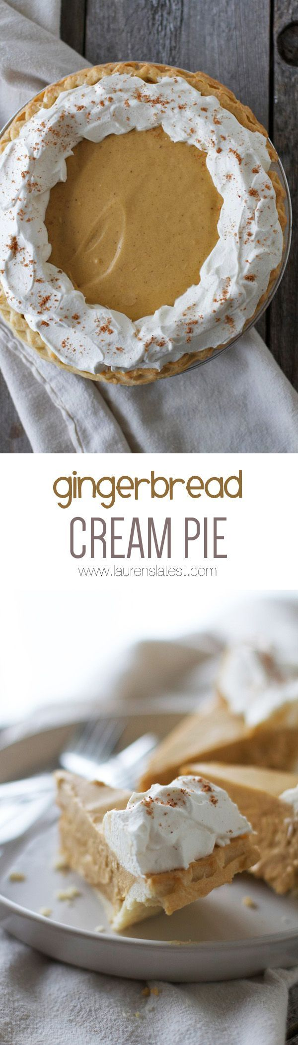 The crazy thing about this Gingerbread Cream Pie is it actually tastes like a soft and sweet gingerbread cookie in pie form. It's BANANAS. Also: it takes 10 minutes to whip up.