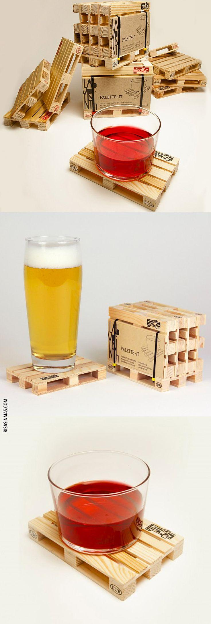 Originales posavasos en forma de mini palés