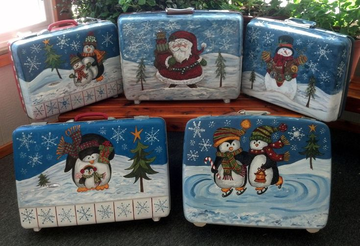 Purchase old suitcases from the thrift store and paint or decoupage them with fun holiday themes. Then wrap up your ornaments and other decorations and store them inside! The hard case will protect your wares — and bonus: It doubles as a holiday decoration itself