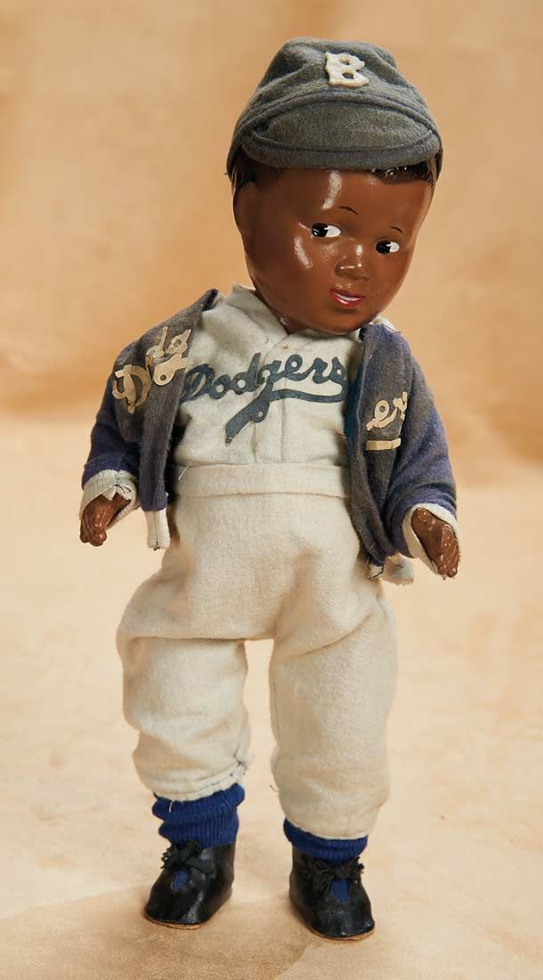 Rare American Composition Celebrity Doll of Jackie Robinson. Continuing to inspire the game of baseball and the nation 67 years later...  http://Theriaults.com