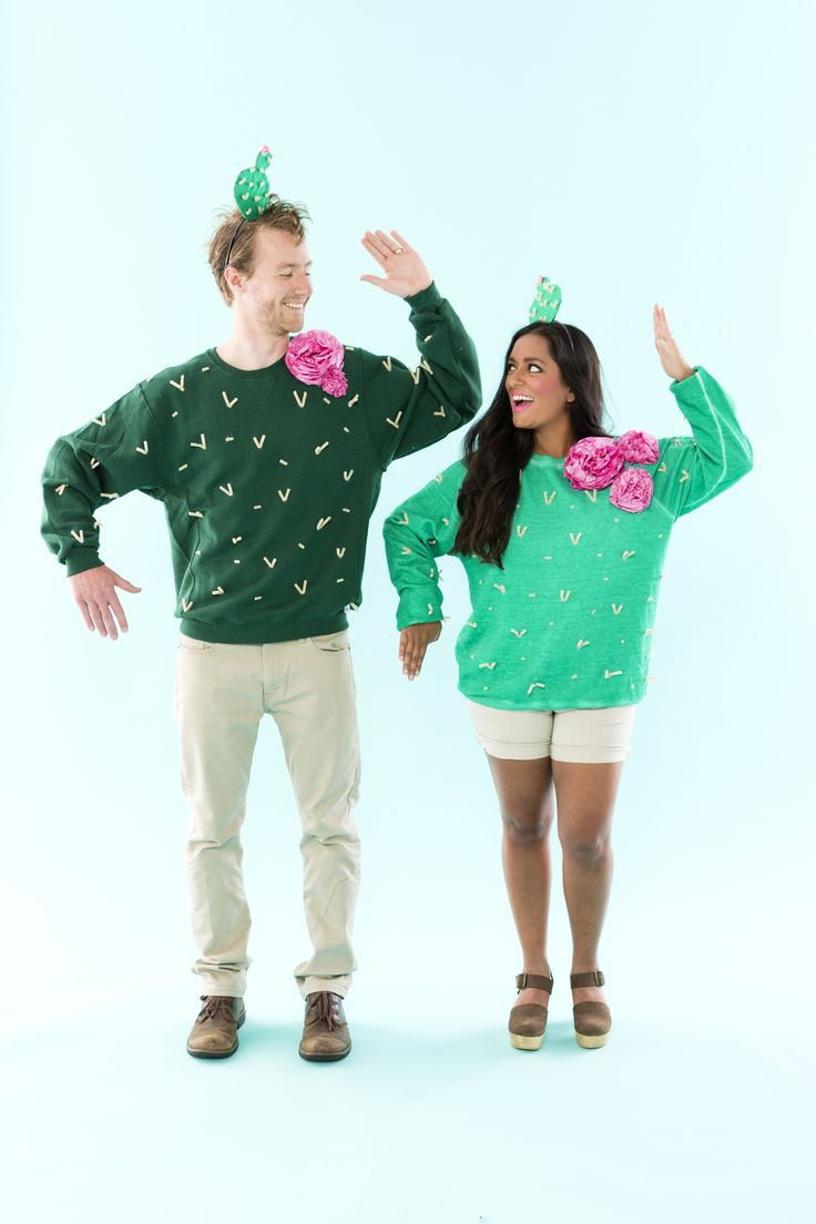 How cute is this DIY cactus couple's costume? #partner