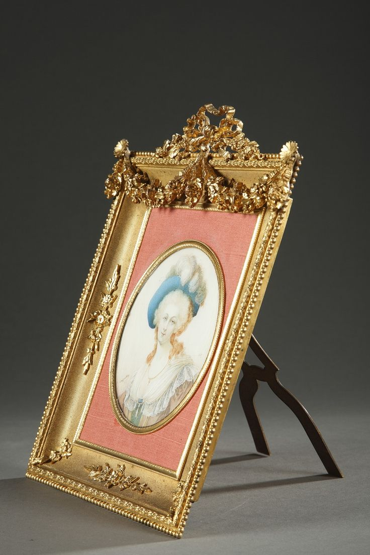 154 best picture frames images on pinterest antique frames a very beautiful century gild bronze frame for miniature hemmed with a frieze of pearls and topped by a ribbon two small flowers support a rich double jeuxipadfo Image collections