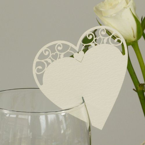 Ivory Vintage Heart Place Cards for Glass. Wedding Name Place Cards by Paper Baker. Pack of 10 PaperBaker http://www.amazon.co.uk/dp/B006G0ITLA/ref=cm_sw_r_pi_dp_olqzvb1JA18F5