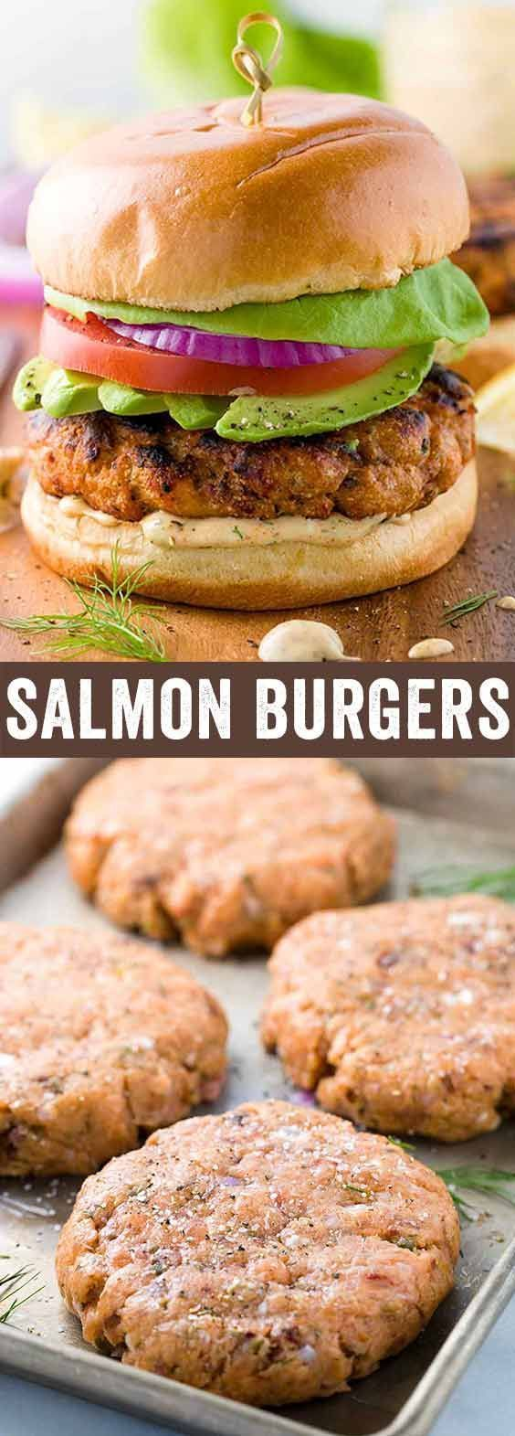 Salmon burgers with lemon dill sauce takes the seafood sandwich to the next level. Healthy protein grilled to perfection and topped with lettuce, tomato, onions, and avocado. via @foodiegavin