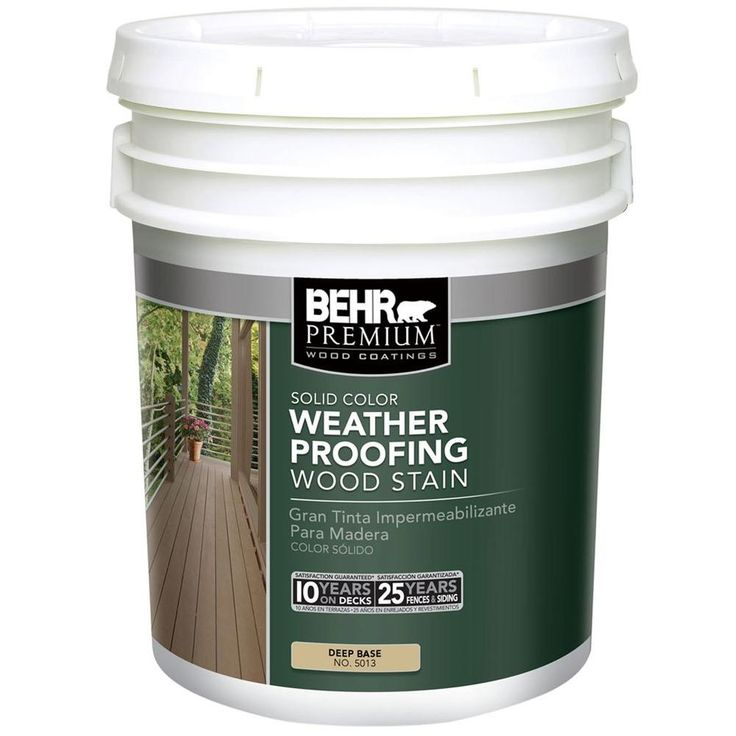 BEHR Premium 5 gal. Deep Base Solid Color Weatherproofing All-In-One Wood Stain and Sealer