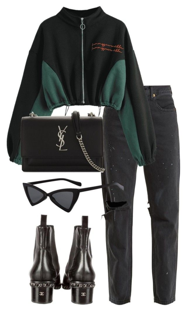 """Untitled #4942"" by ashleymeagan ❤ liked on Polyvore featuring RE/DONE, Chanel and Yves Saint Laurent"