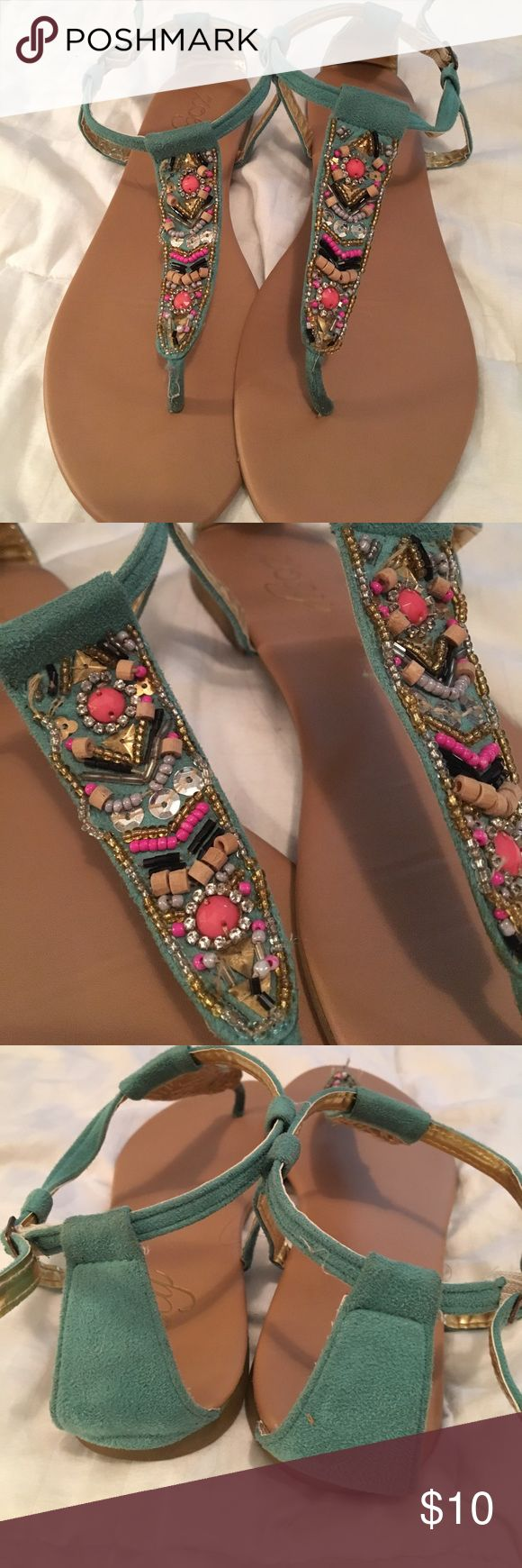 Sandals Really cute teal sandals with beaded design! Only worn once! Shoes Sandals