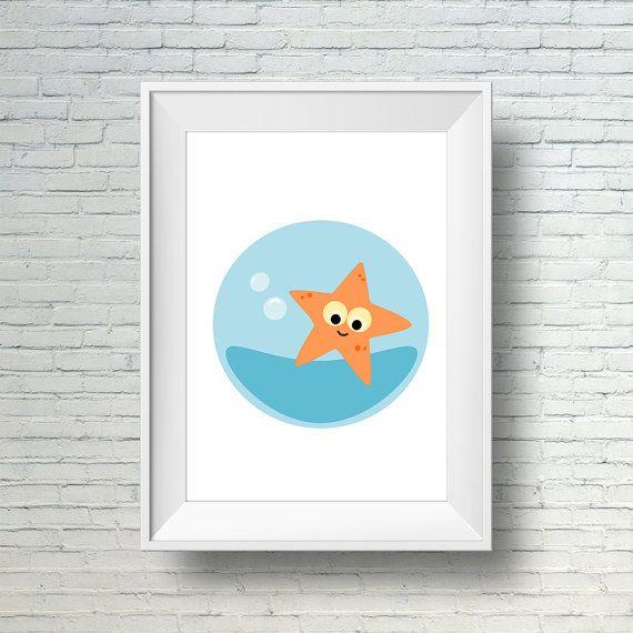 Starfish Nursery Art Print, Under The Sea Nursery Decor, Sea Animal Art, Printable Baby Nursery Wall Art, Kids Print, Kids Ocean Room Decor