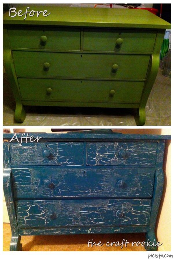 crackle paint on furniture tutorial!