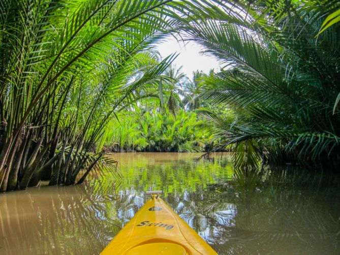 Kayaking in Kampot, Cambodia. Round the world travel.