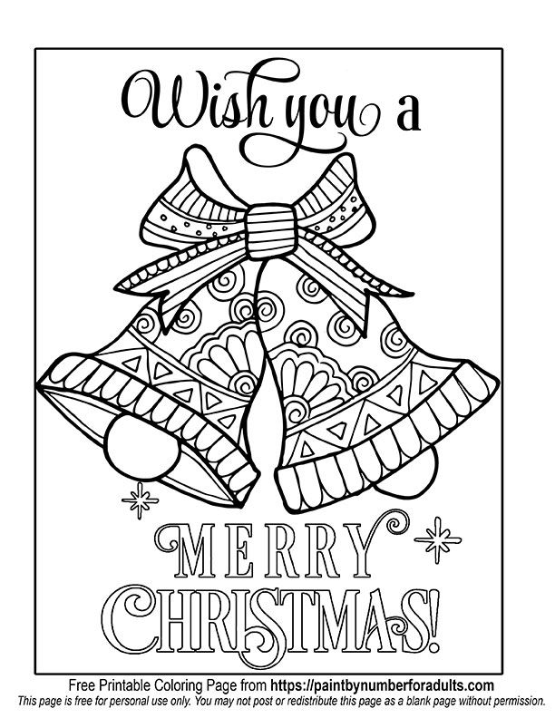 Christms Bells Coloring Page Michael Ercolino S Adults Christmas