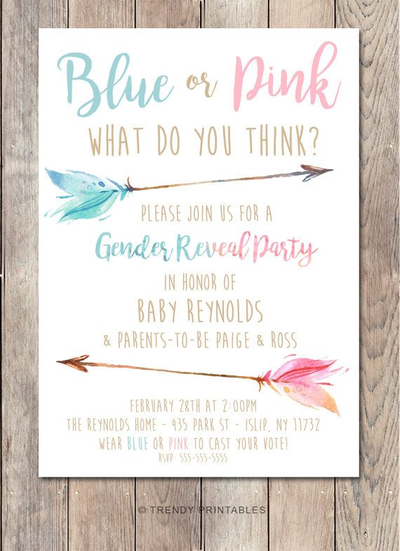 gender reveal invitation gender reveal party by trendyprintables reveal parties pinterest gender reveal reveal parties and gender - Gender Reveal Party Invites