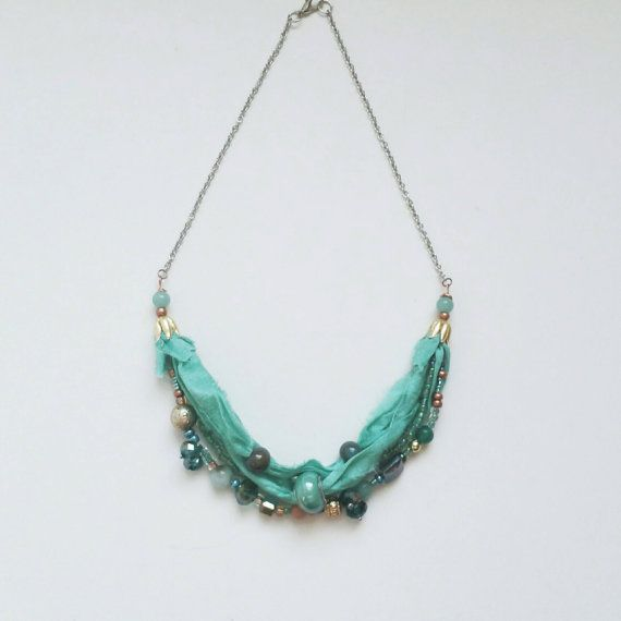 aquamarine dreams silk sari beaded necklace boho by