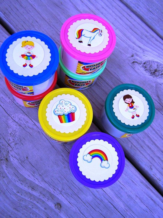 Girl Play Dough Putty Birthday Party Favors 6pk in Rainbow Girls Horse Cupcake Brite