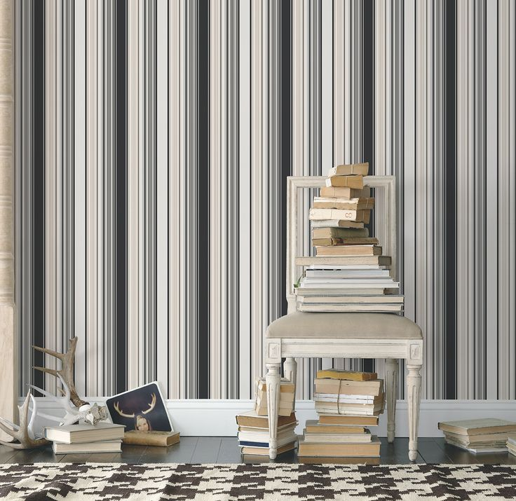 Love this black and beige stripe with the cream chair and dogtooth rug! Stripe wallpaper from Galerie's Smart Stripes collection- G23182