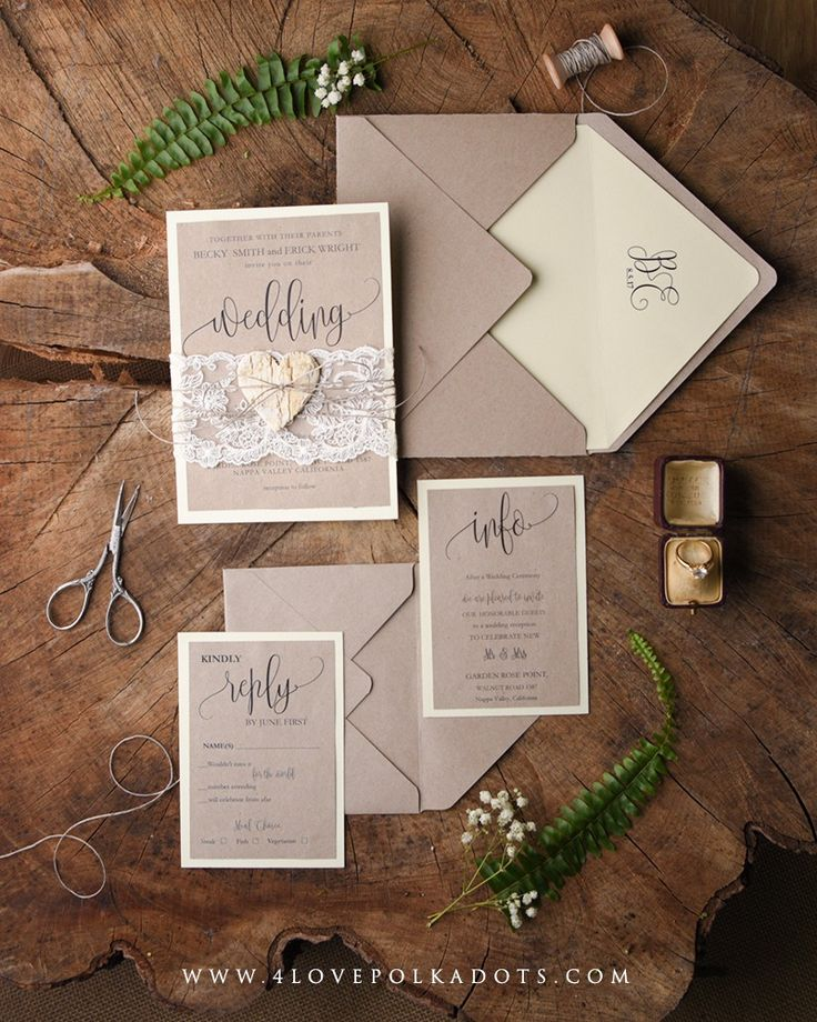 real simple unique wedding invitations%0A Wedding invitations with  lace and wood