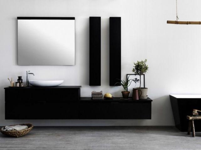 Meuble noir salle de bains