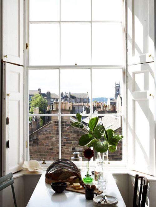 Perfect Windows Decor: Kitchens Window, Big Window, Paris Apartment, Kitchens Design, Tables For Two, Window View, Living Rooms Design, The View, Design Kitchens
