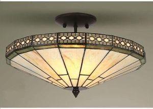 Mission Tiffany Style Glass Semi Flush Ceiling Light | eBay