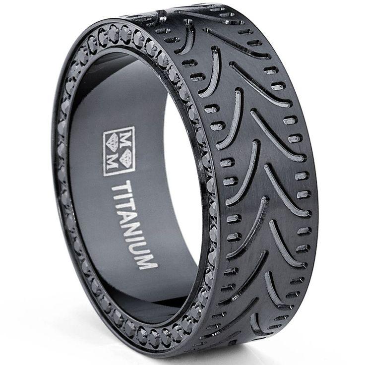 Oliveti Men's Black Titanium Black Cubic Zirconia Comfort Fit Ring (8 mm) | Overstock.com Shopping - Big Discounts on Men's Rings http://www.thesterlingsilver.com/product/j-r-jewellery-422832-mens-silver-garnet-set-signet-ring-made-in-jewellery-quarter-bh