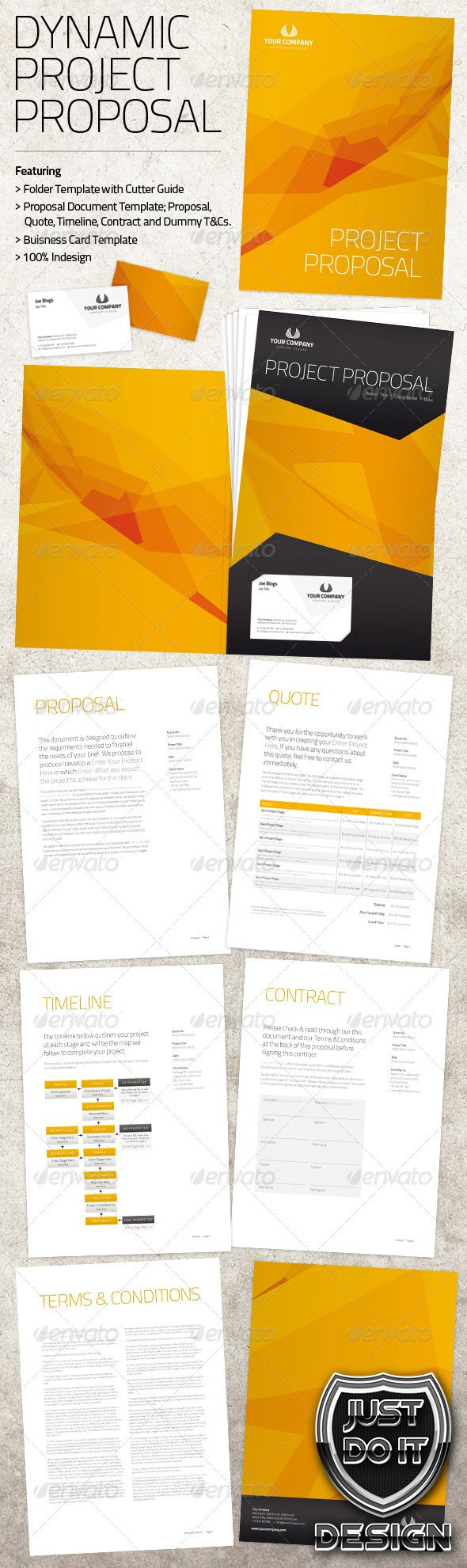 The folder is supplied with a cutter guide set-up ready for press. The Proposal document is full of dummy text, ready to add your company name and project information or write your own and style to match the Dynamic design.    INDESIGN Format, Jpg, Pdf, Documentation.- $6.99  Finishing & Printed Lots Pricing Upon Request