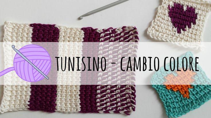 Tutorial uncinetto tunisino - cambio colore