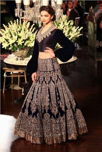 #DeepikaPadukone in #ManishMalhotra #Designer Blue #Lehenga