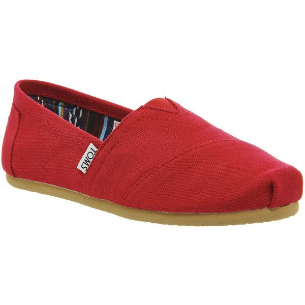Toms Classic Slip On ($53) ❤ liked on Polyvore featuring shoes, flats, red, women, red shoes, toms espadrilles, flat heel shoes, toms footwear and red espadrille shoes