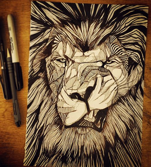 ELVIS LION // HAND DRAWN // BIRO, SHARPIE // WWW.THEBEARHUG.COM