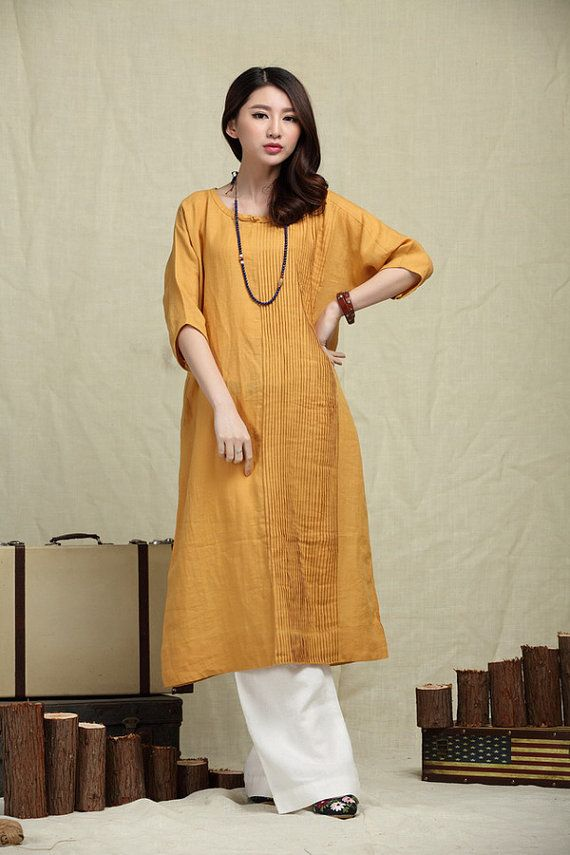 Oversize Loose Casual Dress, Pleated Linen Dress in yellow / Shift Dress / maxi shirt dress - $99  if only it came in black...