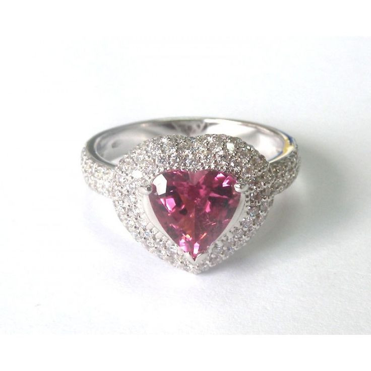 Heart shape Tourmaline surrounded by 142 F/VS diamonds in White gold Pave Ring! - Lianne Jewelry
