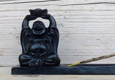 Polystone wierookhouder met chinese Boeddha