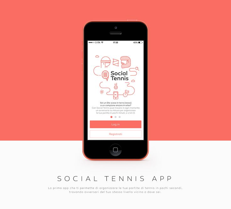 Social Tennis App on Behance 线条画经常出现在引导的页面