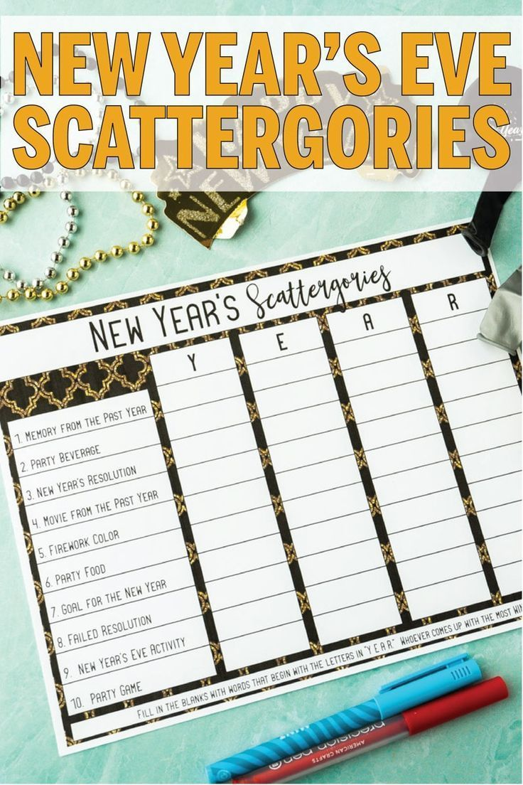 Free Printable New Year's Eve Scattergories Game Play