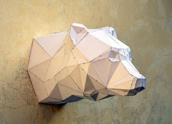 DIY Bear Sculpture. Papercraft bear sculpture by PlainPapyrus