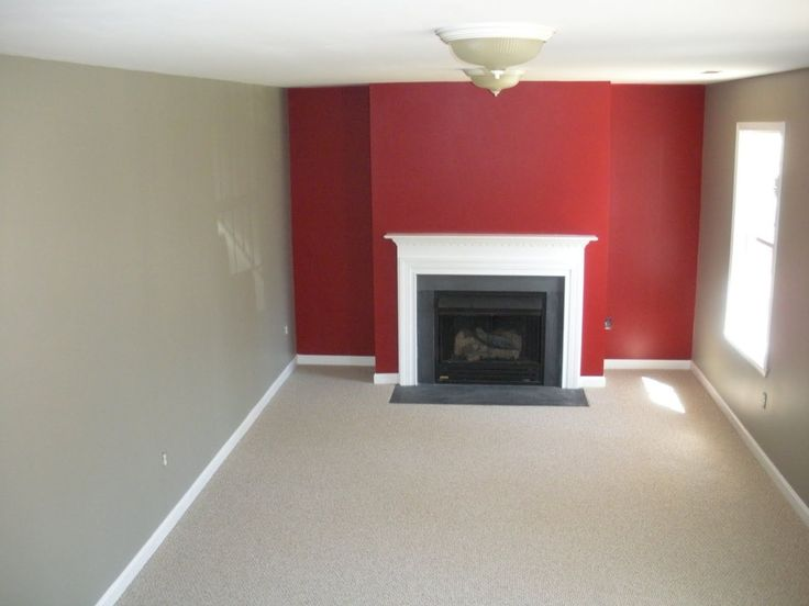 Benjamin moore caliente red rockport gray and wilmington for Living room accent wall ideas