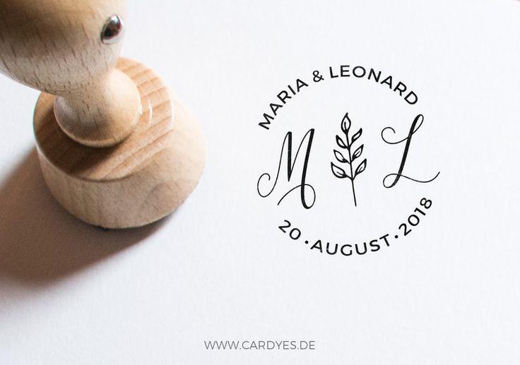 Monogram wedding stamp, personalized round wooden stamp