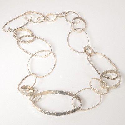 "Necklace, Oxidized Sterling Silver, Beaten Chain, 26"" long  Artist Disa Allsopp"