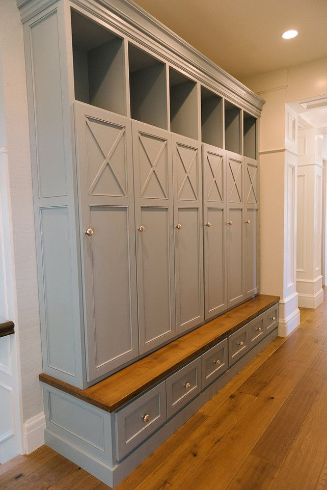 Wall color is Benjamin Moore Sea Salt CSP-95.  Mudroom Cabinet Paint Color The gray cabinet paint color is Benjamin Moore Wedgewood Gray HC-146.