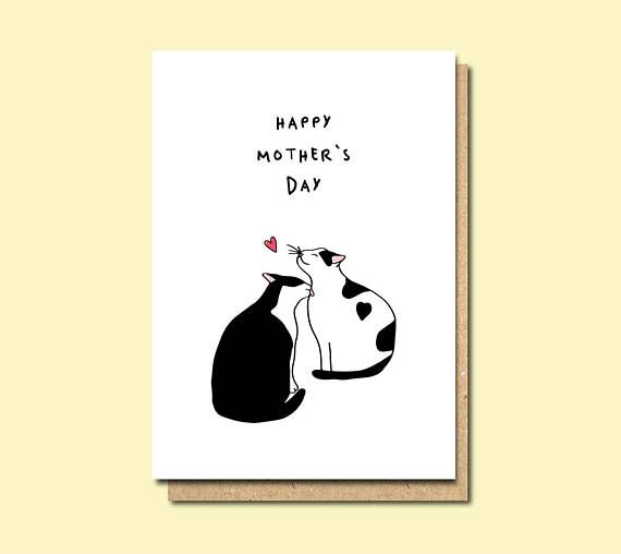 Mother's Day Card, mother's day card cat, happy mother's day card, cute mother's day card, i love you mum card,  best friend mum card
